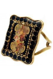 Michal Negrin Black Roses Rectangle Ring