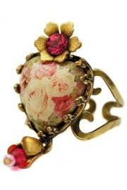 Michal Negrin Pink Roses Heart Ring