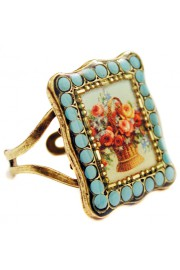 Michal Negrin Turquoise Flower Basket Square Ring