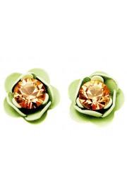 Michal Negrin Green peach Rose Stud Earrings