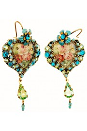 Michal Negrin Turquoise Roses Crystal Heart Earrings