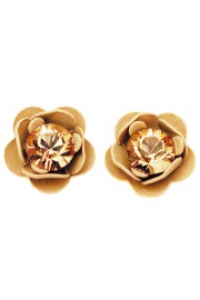 Michal Negrin Tan Rose Stud Earrings