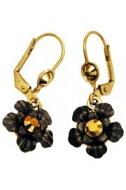 Michal Negrin Black Bronze Painted Flower Earrings