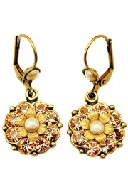 Michal Negrin Peach Pearl Crystals Flower Earrings