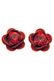 Michal Negrin Red Rose Stud Earrings