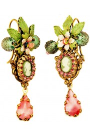 Michal Negrin Pink Green Victorian Lady Cameo Earrings