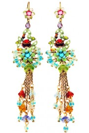 Michal Negrin Multicolor Flowers beads Drops Earrings