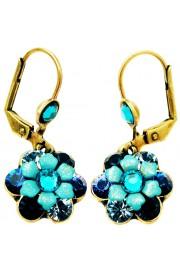 Michal Negrin Blue Turquoise Aqua Crystal Flower Earrings