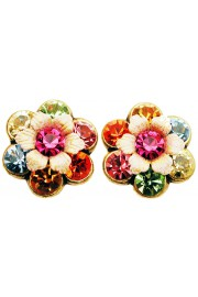 Michal Negrin Multicolor Crystal Flowers Stud Earrings