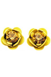 Michal Negrin Yellow Rose Stud Earrings