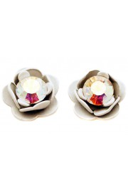 Michal Negrin White Rose Stud Earrings