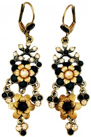 Michal Negrin Black Gold Chandelier Earrings