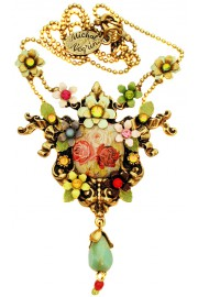 Michal Negrin Multicolor Roses Cameo Necklace