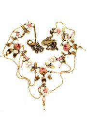 Michal Negrin Pink White Roses Chain Necklace