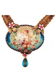 Michal Negrin Antique Cherub Cameo Velvet Necklace