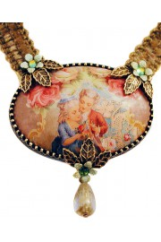 Michal Negrin Baroque Cameo Khaki Velvet Necklace