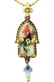 Michal Negrin Multicolor Cherub Hamsa Necklace