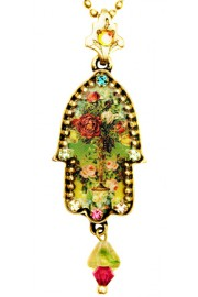 Michal Negrin Antique Roses Hamsa Necklace