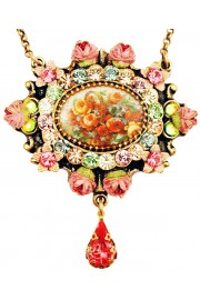 Michal Negrin Pastel Medallion Cameo Necklace