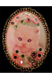 Michal Negrin Pink Cat Cameo Brooch