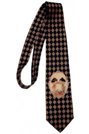 Michal Negrin Checkered Dolls Kiss Tie