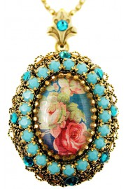 Michal Negrin Turquoise Victorian Roses Locket Necklace