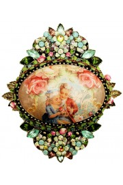 Michal Negrin Baroque Roses Embellished Cameo Brooch