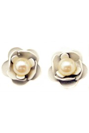 Michal Negrin Pearl White Roses Stud Earrings