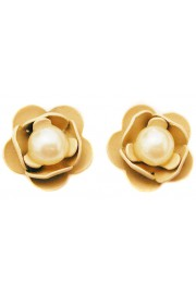 Michal Negrin Pearl Cream Rose Stud Earrings