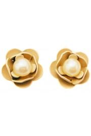 Michal Negrin Pearl Cream Rose Stud Earrings