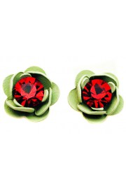 Michal Negrin Red Green Rose Stud Earrings