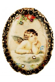 Michal Negrin Musing Cherub Oval Cameo Brooch