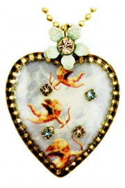 Michal Negrin Flying Cupids Heart Necklace