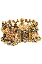 Michal Negrin Peach Grey Crochet Bracelet