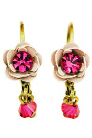 Michal Negrin Pink Fuchsia Rose Earrings