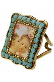 Michal Negrin Turquoise Kissing Cherubs Rectangle Ring