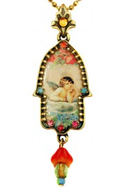Michal Negrin Musing Cherub Hamsa Necklace