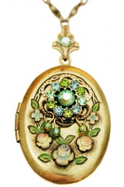 Michal Negrin Green Crystals Oval Locket Necklace