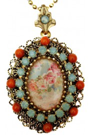 Michal Negrin Coral Sea Green Vintage Roses Locket Necklace