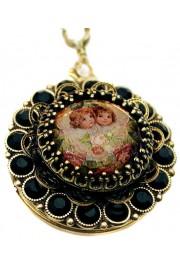 Michal Negrin Black Cherubs Locket Necklace