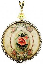 Michal Negrin Antique Rose Round Locket Necklace