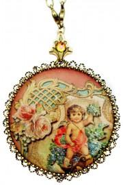 Michal Negrin Antique Cherub Round Locket Necklace