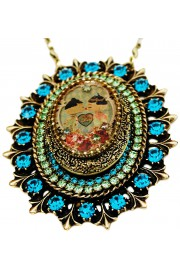 Michal Negrin Dolls Kiss Turquoise Locket Necklace