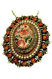 Michal Negrin Bronze Roses Crystals Locket Necklace