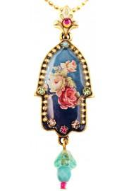 Michal Negrin Blue Victorian Roses Hamsa Necklace