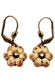 Michal Negrin Bronze Peach Crystal Flower Earrings