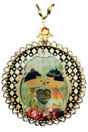 Michal Negrin Dolls Kiss Cameo Locket Necklace
