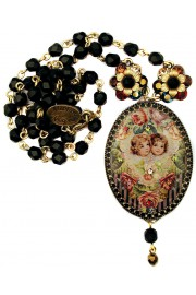 Michal Negrin Cherubs Cameo Beads Necklace