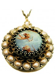 Michal Negrin Flying Cupids Pearl Locket Necklace