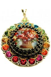 Michal Negrin Multicolor Roses Crystals Locket Necklace